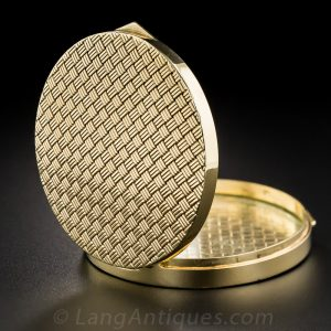 Mid-Century Woven Gold Compact.