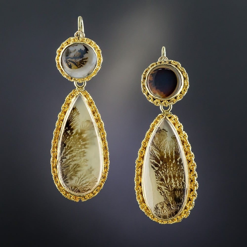 Victorian Moss Agate Day and Night Earrings.