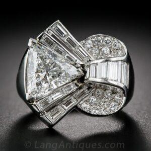 Retro Diamond and Platinum Dinner Ring.