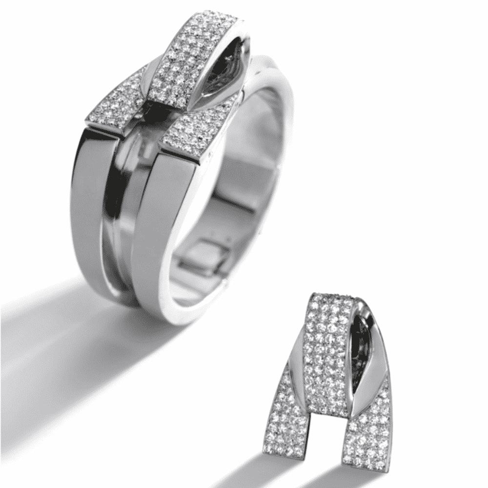 Diamond Bangle Bracelet and Brooch Combination, Raymond Templier, c.1935. Photo Courtesy of Sotheby's.