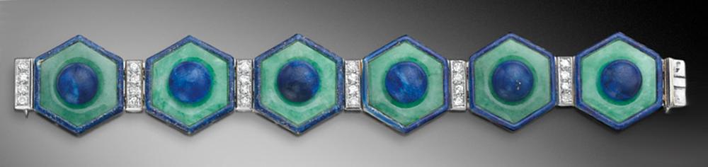 Diamond, Jade, Lapis Lazuli Bracelet, Jean Fouquet, c.1925. Photo Courtesy of Sotheby's.