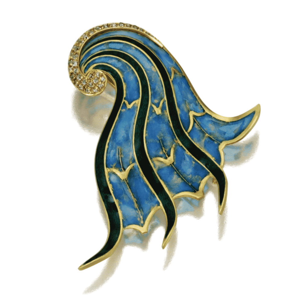 Diamond and Enamel Brooch, Jean Fouquet, c.1950s. Photo Courtesy of Sotheby's.