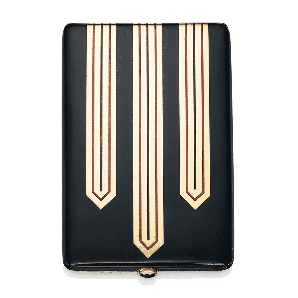 Art Deco Enamel and Onyx Cigarette Case, Gérard Sandoz. Photo Courtesy of Christie's.