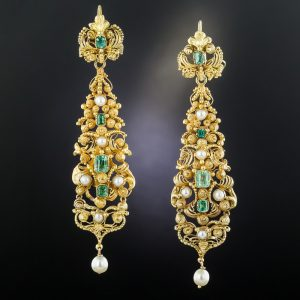 Georgian Emerald and Pearl Cannetille Earrings.