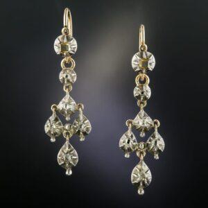 Georgian Diamond Day-and-Night Earrings.
