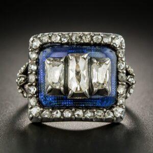 Georgian Diamond and Blue Glass Ring.