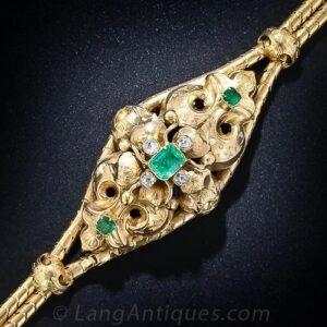 Georgian Emerald and Diamond Bracelet.