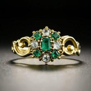 Georgian Emerald and Diamond Ring.