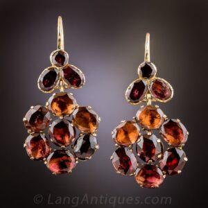 Georgian Garnet Floral Motif Earrings.