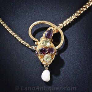 Georgian Multi-Colored Gemstone Snake Necklace.
