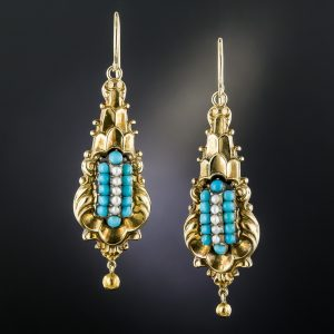 Georgian Turquoise and Seed Pearl Earrings.