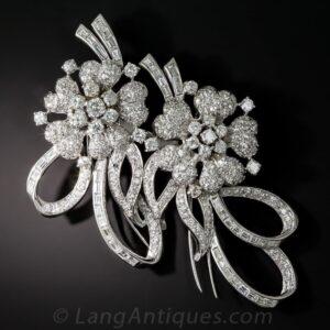 Mid-Century Diamond Floral Double Clip Brooch.