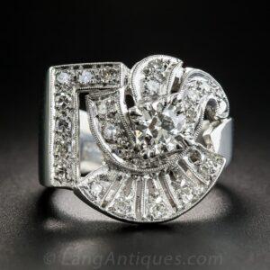 Retro Diamond and Platinum Ring.