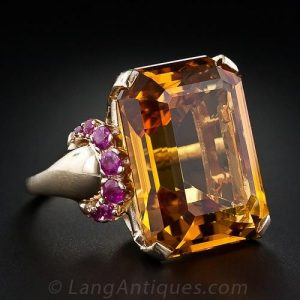 Retro Citrine and Ruby Ring.
