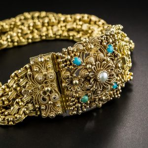 Late Georgian Cannetille and Turquoise Bracelet.