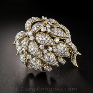 Mid-Century Diamond Corsage Brooch.