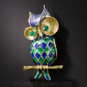Mid-Century Enamel Owl Brooch.