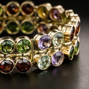 Mid-Century Multi-Gemstone Bracelet.