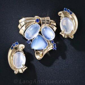 Raymond Yard Retro Moonstone and Sapphire Jewelry Suite.