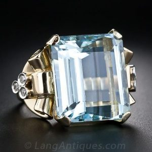 Retro Aquamarine and Diamond Ring.