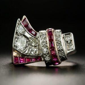 Retro Diamond and Ruby Asymmetrical Ring