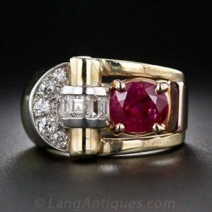 Retro Ruby and Diamond Ring.