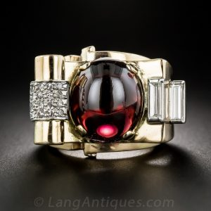 Retro Cabochon Garnet and Diamond Ring.
