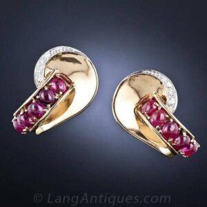 Retro Ruby Cabochon and Diamond Earrings.