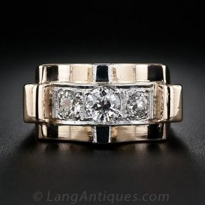 Retro Diamond and Rose Gold Ring.