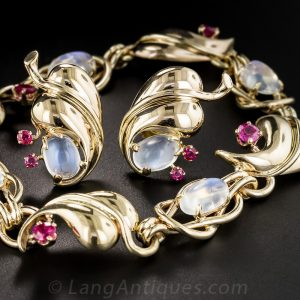 Retro Moonstone and Ruby Jewelry Suite.