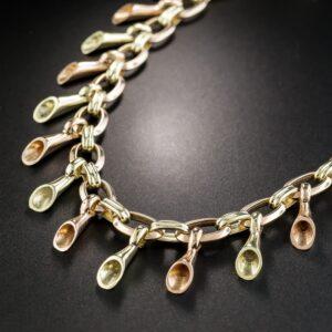 Retro Rose and Green Gold Fancy Link Fringe Necklace.
