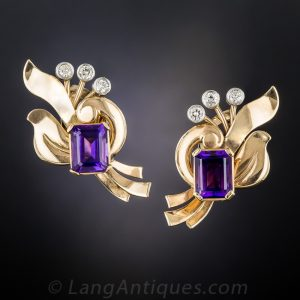 Retro Amethyst and Diamond Rose Gold Ear Clips.