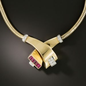 Retro Ruby and Diamond Serpentine Necklace.