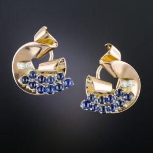 Retro Sapphire and Diamond Earrings.