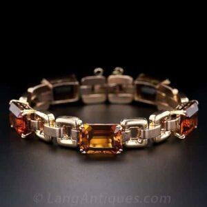 Retro Madeira Citrine Bicolor Gold Bracelet.