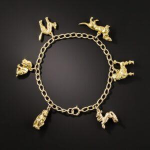 Mid-Century Gold Animal Charm Bracelet.