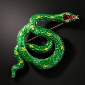 Mid-Century Enamel Snake Brooch.