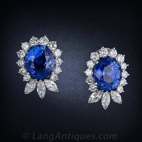 Ceylon Sapphire and Diamond Earrings.