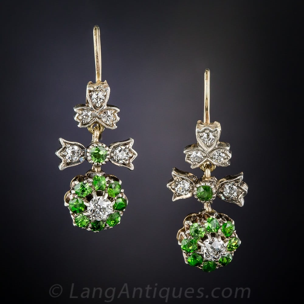 Antique Demantoid and Diamond Earrings.