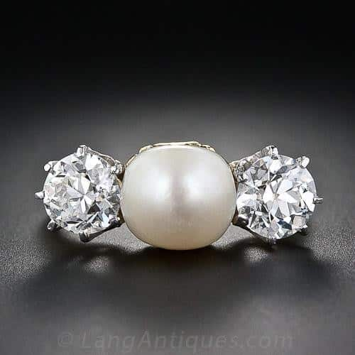Antique Natural Pearl and Diamond Three Stone Ring.