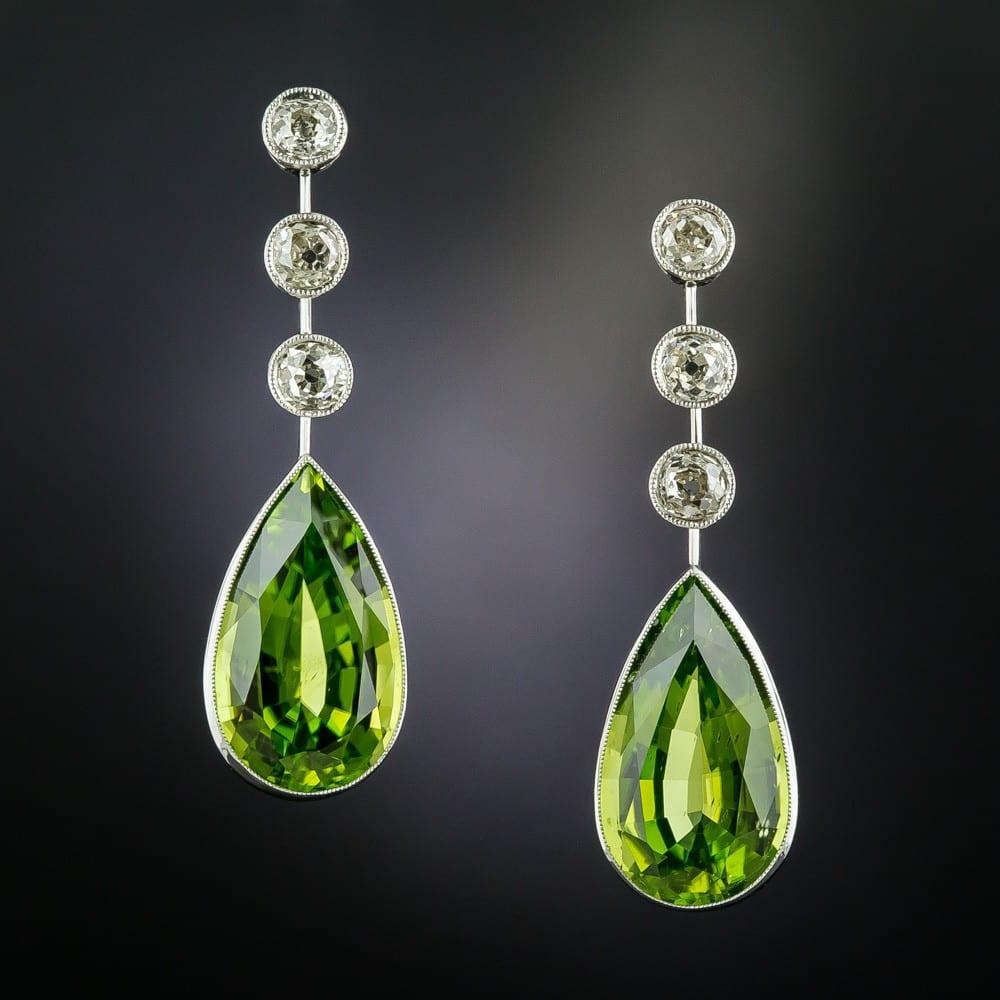 Peridot and Diamond Earrings.
