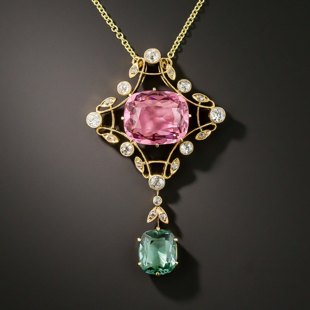 Arts & Crafts Tourmaline and Diamond Pendant Necklace.