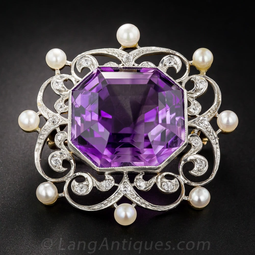 Edwardian Amethyst, Diamond, and Pearl Brooch.