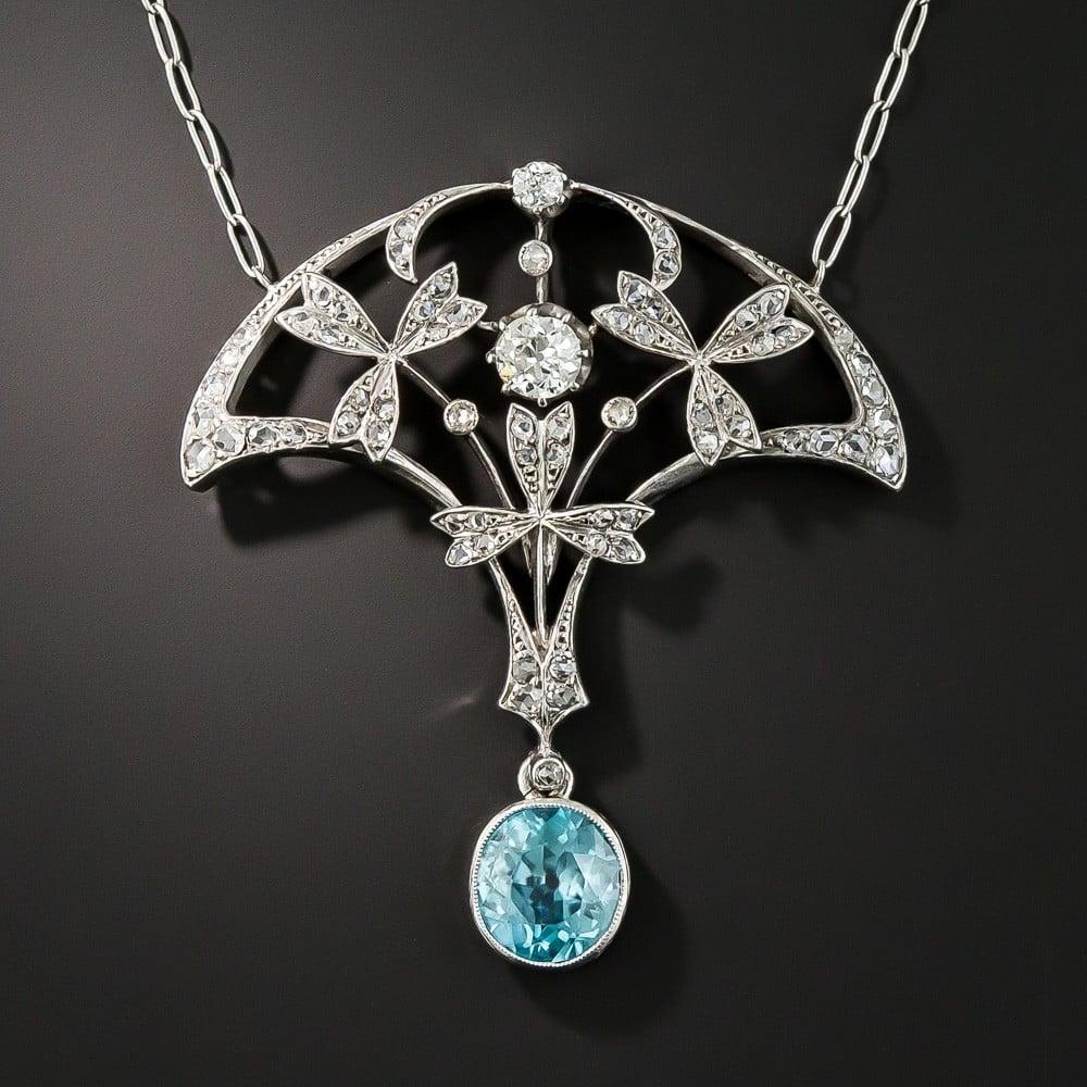 Edwardian Blue Zircon and Diamond Pendant Necklace.