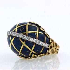 Lapis Lazuli and Diamond Ring Inlaid with Gold Design.