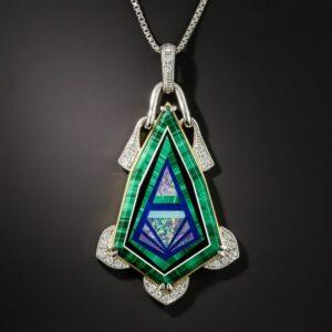 Inlaid Gemstone Pendant Necklace.