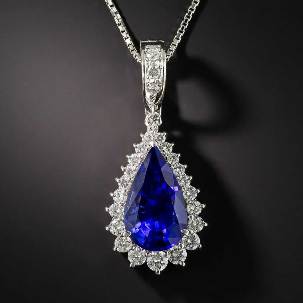 Pear-Shaped Tanzanite and Diamond Pendant Necklace.