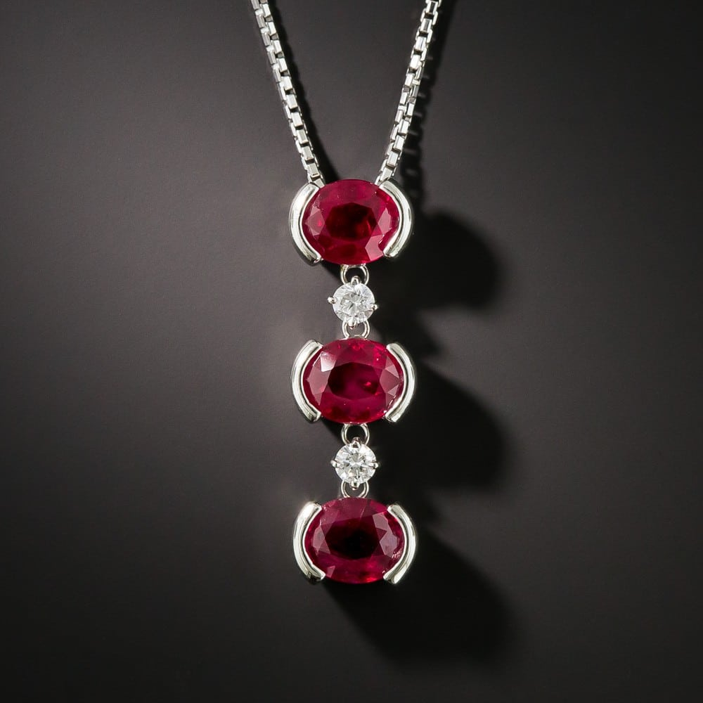 Burma Ruby, Diamond, and Platinum Necklace.