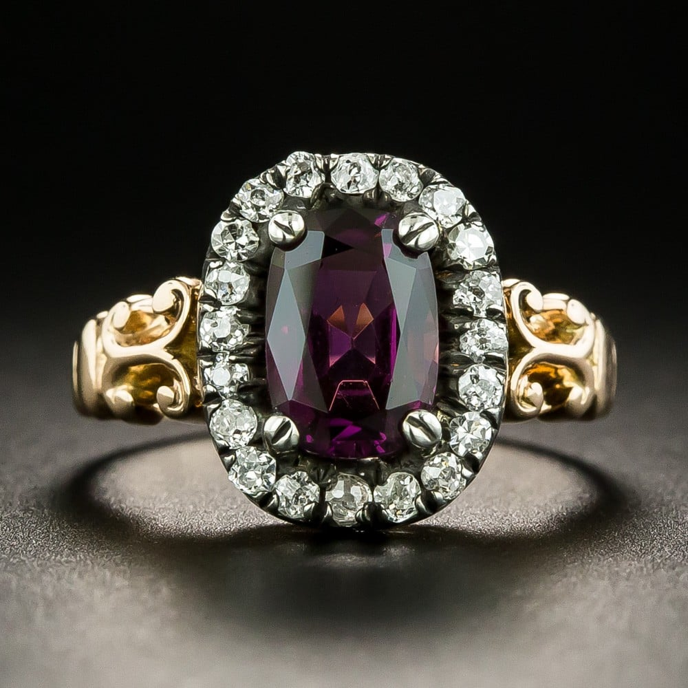 Victorian Purple Spinel and Diamond Ring.