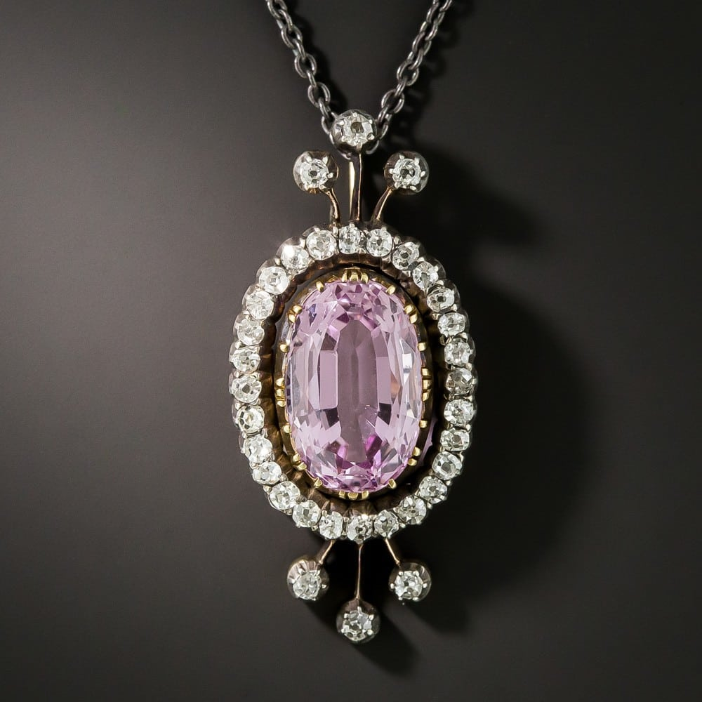 Victorian Pink Topaz and Diamond Pendant.